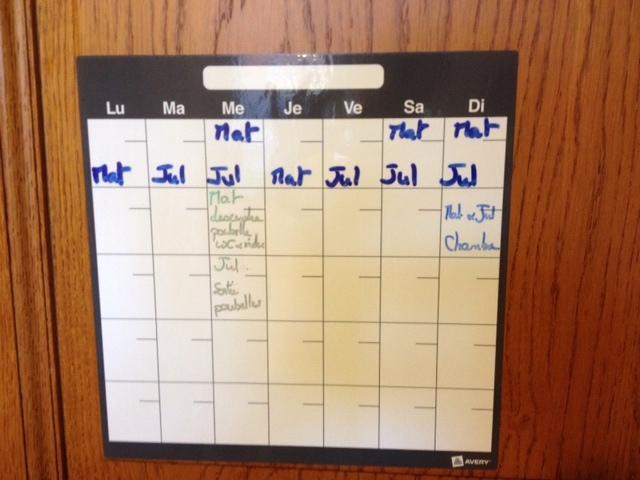 calendrier corvées